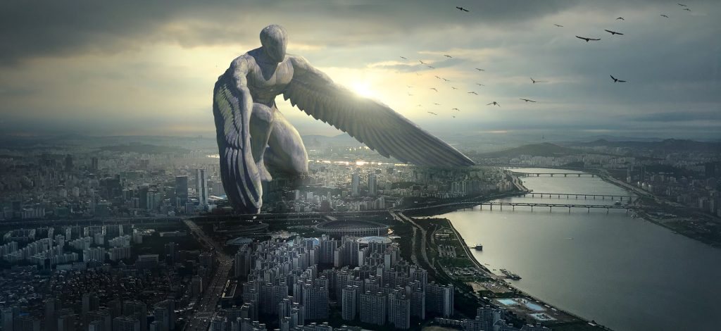 Our Riddle Game asked a riddle about angels. This is a 3d render piece of art, depicting a guardian angel over a city scape.