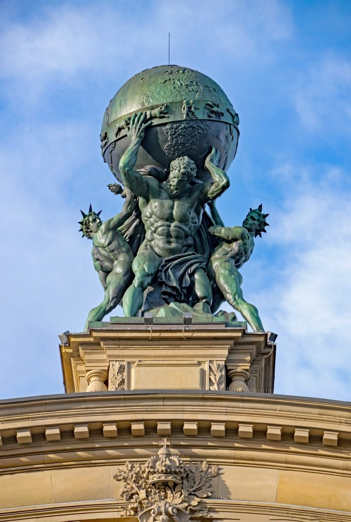 Thie Tricky Riddle is about Atlas, an ancient Greek Titan. This picture is of a Statue of Atlas the Titan, holding up the world.